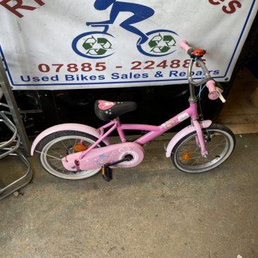 "B-Twin Princess 16"" Wheel Girls Bike. £30"